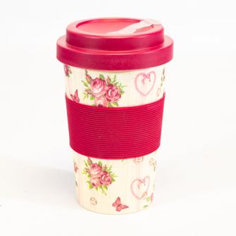 Becher Bambus mit Schraubverschluss und Griffring 400 ml Rose Design für Tea-/Coffee-to-go