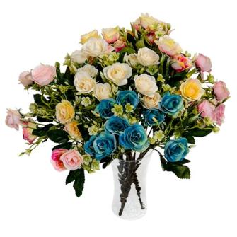 Blumenstrauss Minirosen 9 Blüten 32cm ass