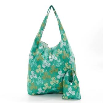 Einkaufstasche ECO CHIC Kleeblatt Grün faltbar Nylon 56x38x10cm