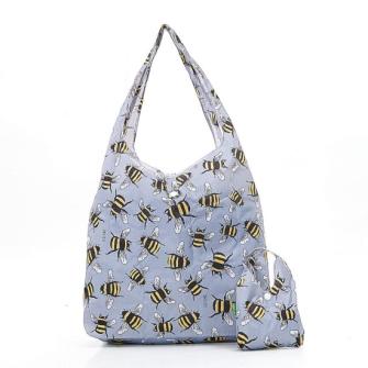Einkaufstasche ECO CHIC Bienen Grau faltbar Nylon 56x38x10cm