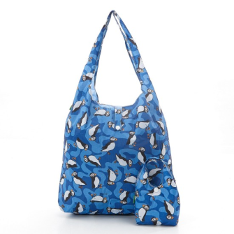 Einkaufstasche ECO CHIC Pinguin Blau faltbar Nylon 56x38x10cm