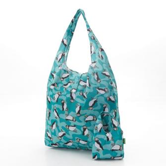 Einkaufstasche ECO CHIC Pinguin Aquamarin faltbar Nylon 56x38x10cm