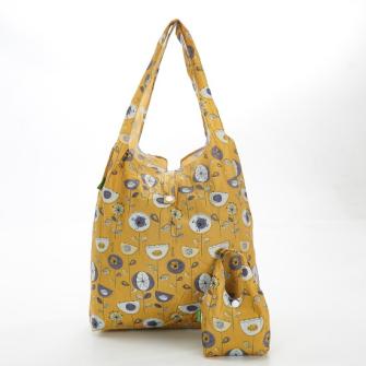 Einkaufstasche ECO CHIC Flower 1950er Gelb faltbar Nylon 56x38x10cm