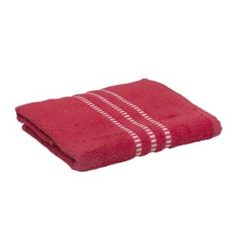 Handtuch weisse Borde Baumwolle 50x100cm rot