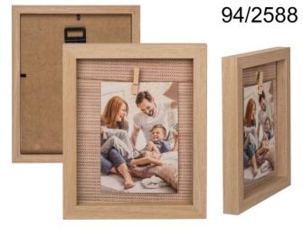 Bilderrahmen mit Wäscheleine Holz 19x23cm 1 Holzklammer