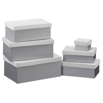 Geschenkboxen Glitzer silber 6er Set rechteckig L 24x15x9.5cm