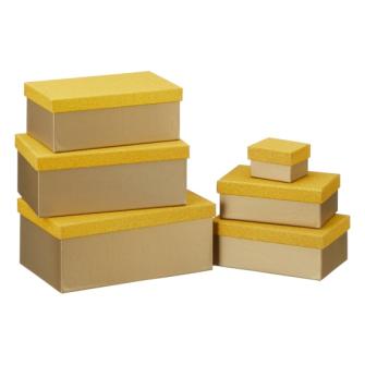 Geschenkboxen Glitzer gold 6er Set rechteckig L 24x15x9.5cm
