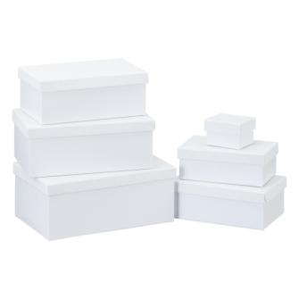 Geschenkboxen Glitzer weiss 6erSet rechteckig L 24x15x9.5cm