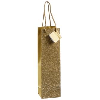 Geschenktasche Glitzer Flasche gold 35cmx10x8cm
