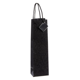 Geschenktasche Glitzer Flasche schwarz 35cmx10x8cm