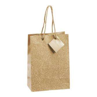 Geschenktasche Glitzer gold 23x17x9cm
