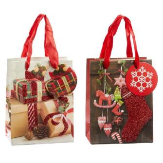 Geschenktasche Weihnachten 2 Motive ass 14.5x11.5x6cm