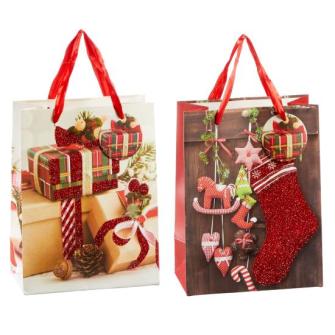 Geschenktasche Weihnachten 2 Motive ass 23x18x10cm
