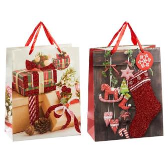 Geschenktasche Weihnachten 2 Motive ass 32x26x12cm