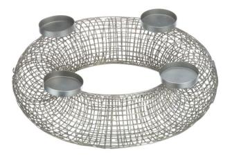Adventsleuchter für 4 Kerzen silber Metall 50x15cm