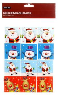 Geschenkanhänger Weihnachten Papier 5.5cm 12er Set 4 ass
