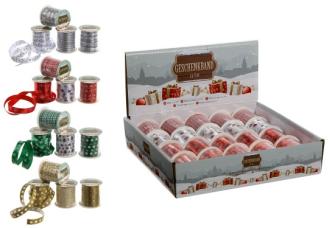 Geschenkband Weihnacht 5m 4 Farben 4 Designs ass im Display