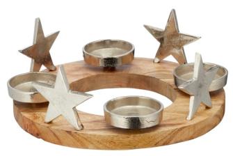 Adventsleuchter Stern Holz und Aluminium d 30cm für Stumpenkerzen d 6.5cm oder Teelichter