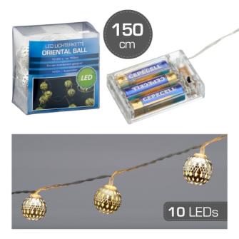 Lichterkette LED Oriental Ball 10 LED 1.5m 3xAA in PVC Box