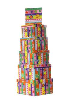 Geschenkboxen Retro 6tlg quadratisch 21x12cm