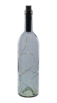LED Deko Flasche Glas mit Kunststoffverschluss 31cm 1xAA Batterie warmweiss