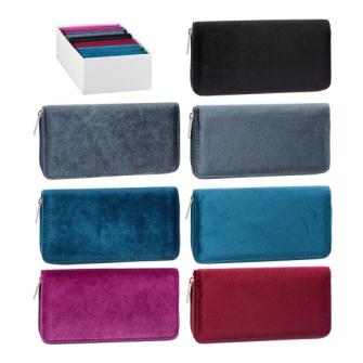 Portemonnaie Velvet 6 Farben ass 20x10x2cm Polyester mit Kunstoff Reissverschluss