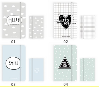 Notizbuch A7 Gummiverschluss Smile Home etc. 96 Seiten liniert 80g Paper Hartcover 4ass in Display