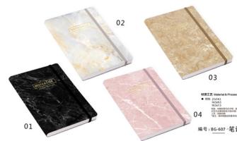 Notizbuch A7 Gummiverschluss marmoriert 96 Seiten liniert 80g Paper Hartcover 4ass in Display