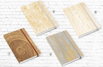 Notizbuch A6 Gummiverschluss Holzmaserung 96 Seiten liniert 80g Paper Hartcover 4ass in Display