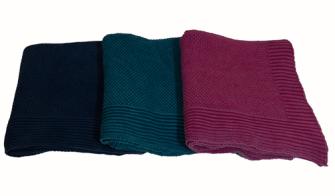 Decke gestrickt 3 Farben ass 125x150cm 100% Baumwolle