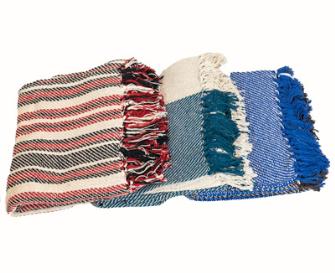 Decke mit Fransen 3ass 125x150cm 100% Baumwolle