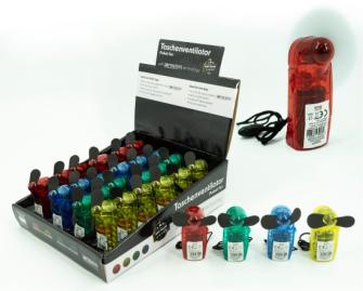 Ventilator 4 Farben ass Kunststoff batteriebetrieben in Display