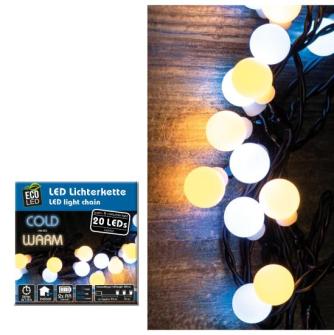 Lichterkette Party LED 20 Kugeln warm und kaltweiss mit Timer batteriebetrieben für Aussenbereich