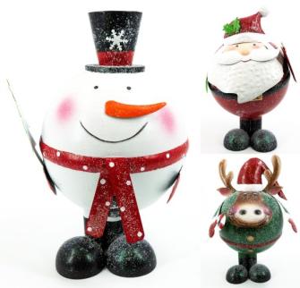 Wackelfigur Weihnachten 3ass Metall mit Glitzer 26x25x39cm