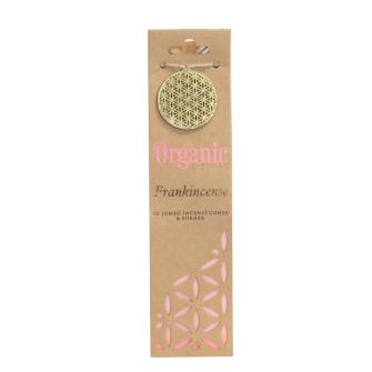 Räucherkegel Organic Frankincense 12 Stck mit Keramikhalter