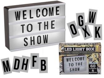 Anzeigetafel mit Beleuchtung 60 Buchstaben und Zeichen Kunststoff A6 Format