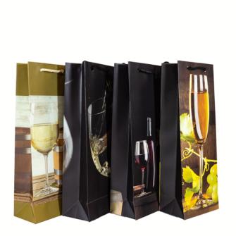 Geschenktasche Flaschenform 39*13*8 Wine 4ass.