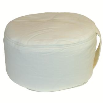 Meditationskissen Creme White abnehmbarer Bezug 100% Baumwolle mit Buchweizenfüllung 30x15cm