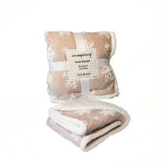 Kuscheldecke beige mit weissen Schneeflocken 110x150cm 100% Polyester