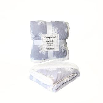 Kuscheldecke grau mit weissen Schneeflocken 110x150cm 100% Polyester