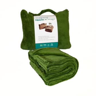 Decke Reisedecke Coralfleece in kl. Kissen mit Reissverschluss Dunkelgrün 100% Polyester 120x150cm