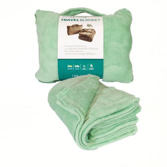 Decke Reisedecke Coralfleece in kl. Kissen mit Reissverschluss Hellgrün 100% Polyester 120x150cm