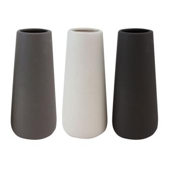 Vase 27.5x12x12 Weiss Grau Schwarz ass