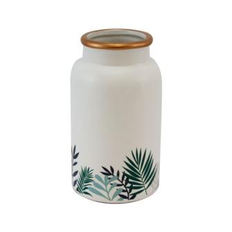 Vase mit Blattmuster und goldenem Rand 18x10x10cm cm Weiss