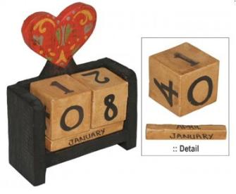 Kalender aus Holz 9.5x12x4cm BALI