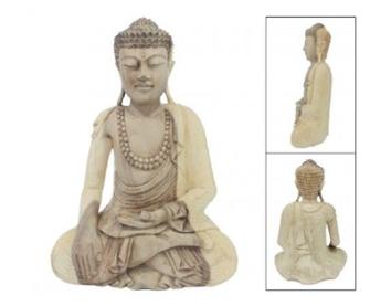 Buddha sitzend Samanea Saman (Regenbaum)-Holz 30x14cm H=40cm BALI