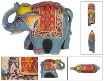 Elefanten Holz bemalt 26x8x20cm BALI