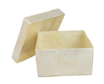 Kästchen Capizmuschel quadratisch weiss 8.5x8.5x4.5cm