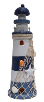 Dekoleuchturm mit LED und Fischernetz weis blau MDF 9.5x9.5x25cm