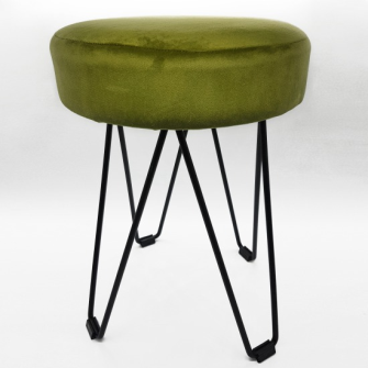Hocker Metall mit grünem Samtbezug 30x41cm